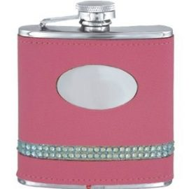 Pink 5oz Diamante Flask Engravable